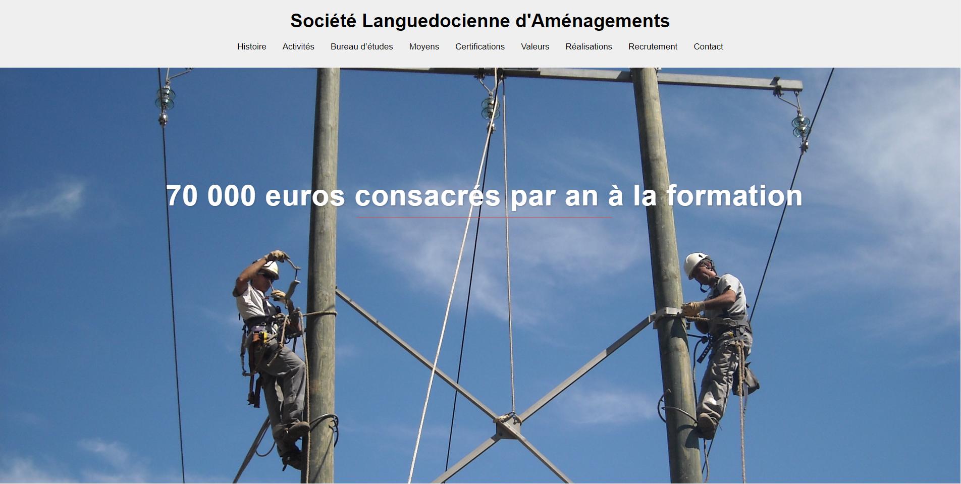 Réalisation site internent pour la société languedocienne d'aménagement
